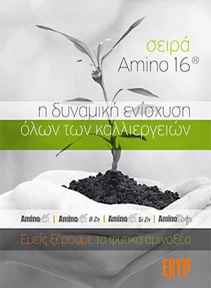 """ΕΒΥΠ <span></span>[ελληνική βιομηχανία υδρολυμένης πρωτεΐνης]<span>Δίπτυχη μπροσούρα για τη σειρά προϊόντων """"Amino16""""</span>"""